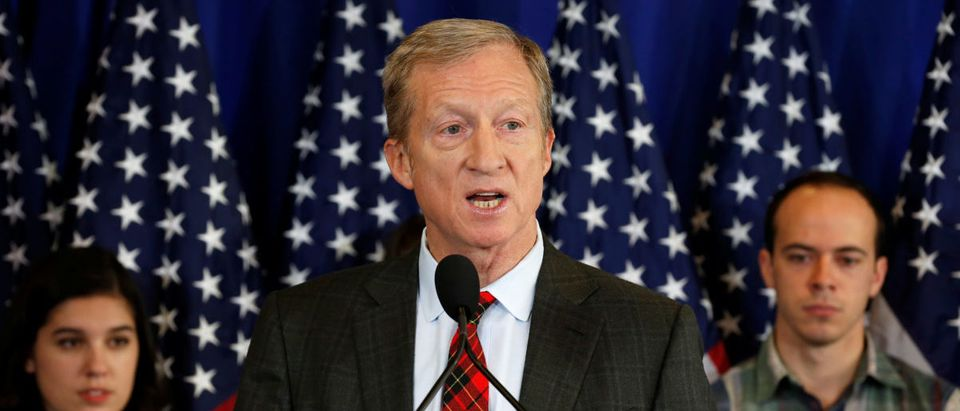 Tom Steyer holds a news conference to announce plans for his political future in Washington