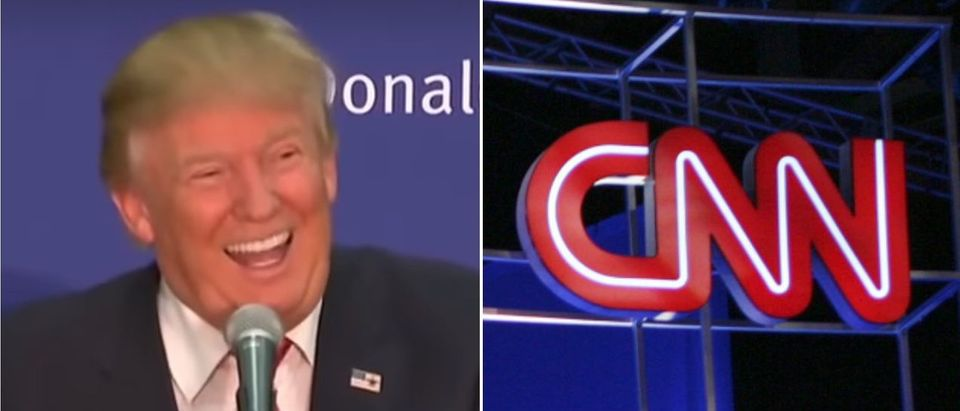 CNN Trump laugh Left: Photo credit should read Edward M. PIO RODA/AFP/Getty Images Right: Photo by Alex Wong/Getty Images