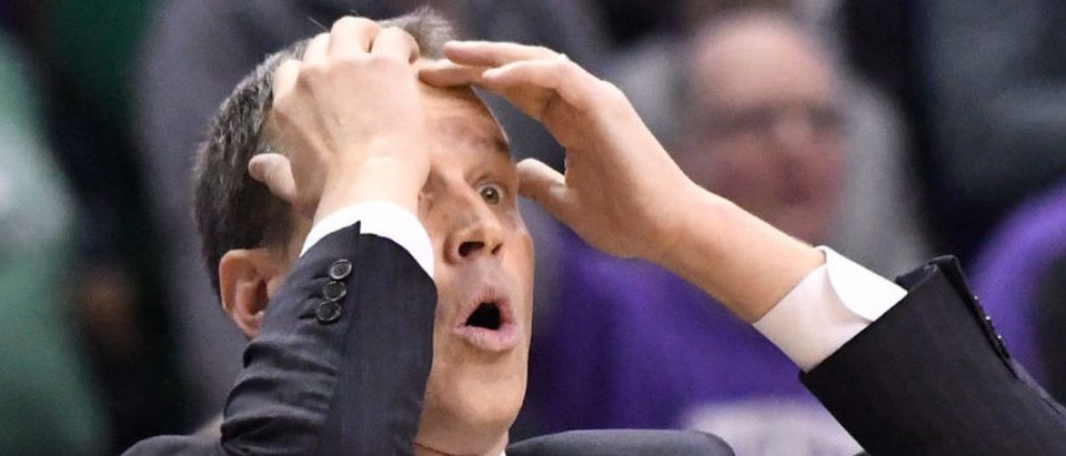 Head coach Chris Collins of the Northwestern Wildcats reacts to a call in a game against the Michigan State Spartans during the second half on February 17, 2018 at Allstate Arena in Rosemont, Illinois. Michigan State defeated Northwestern 65-60.(Photo by David Banks/Getty Images)