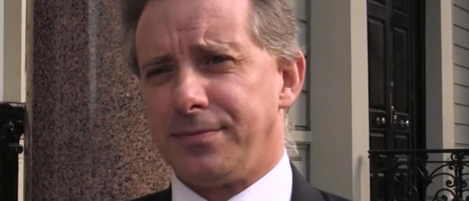 Christopher Steele speaks to reporters in London. (YouTube screen shot/CBS News)