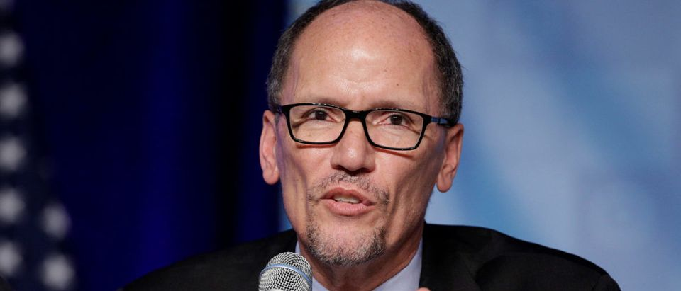 Former Secretary of Labor Tom Perez, a candidate for Democratic National Committee Chairman, speaks during a Democratic National Committee forum in Baltimore, Maryland.