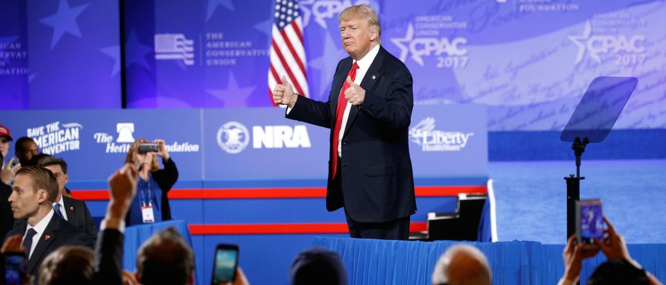Trump addresses CPAC in Oxon Hill in Maryland