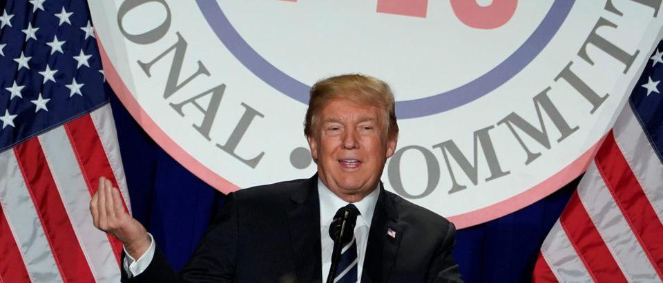 U.S. President Donald Trump addresses the Republican National Committee's winter meeting at the Washington Hilton in Washington, U.S., February 1, 2018. REUTERS/Yuri Gripas