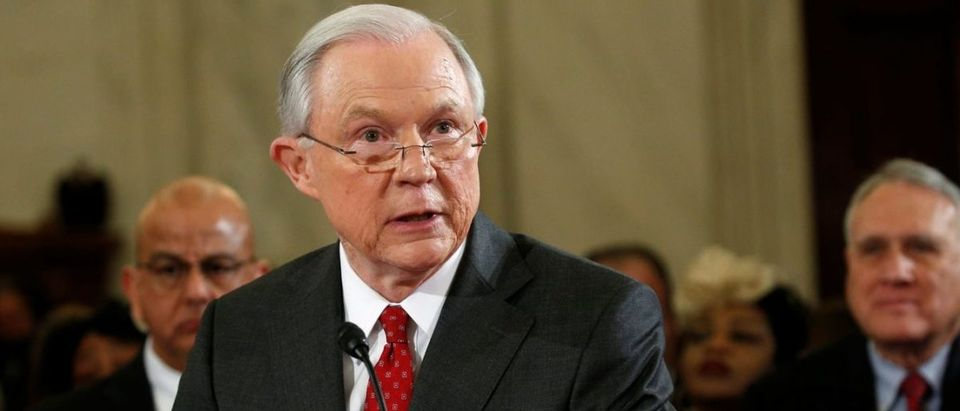 Attorney General Jeff Sessions' Department of Justice filed Monday a statement of interest against the University of Michigan in a lawsuit alleging the school's speech policies violate students' free speech rights. (KEVIN LAMARQUE/REUTERS)