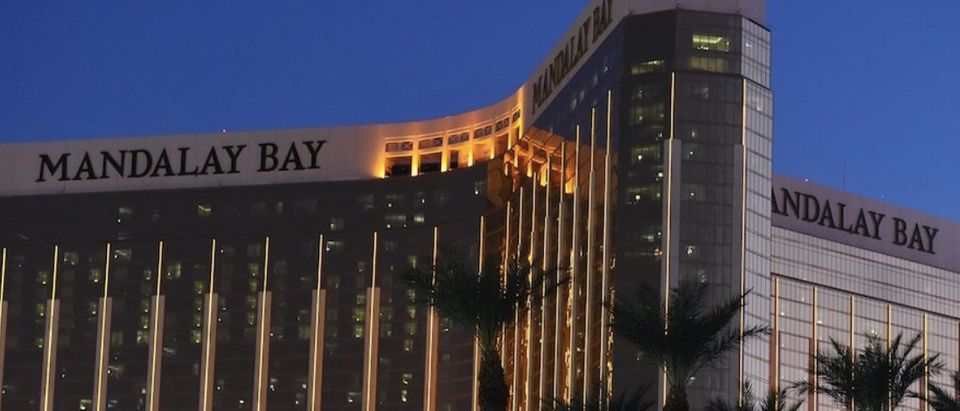 The Mandalay Bay Hotel and Casino, that Stephen Paddock fired from, is seen in the evening in thein Las Vegas, Nevada on October 4, 2017. The attack that left 58 people dead in Las Vegas could impact America's tourism capital, but only in the short term, experts say, predicting a full recovery within months. / AFP PHOTO / Robyn Beck (Photo credit should read ROBYN BECK/AFP/Getty Images)