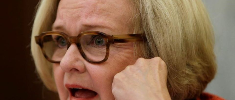 Sen. Claire McCaskill of the Senate Commerce, Science and Transportation Subcommittee questions a witness in Washington July 17, 2014. REUTERS/Gary Cameron