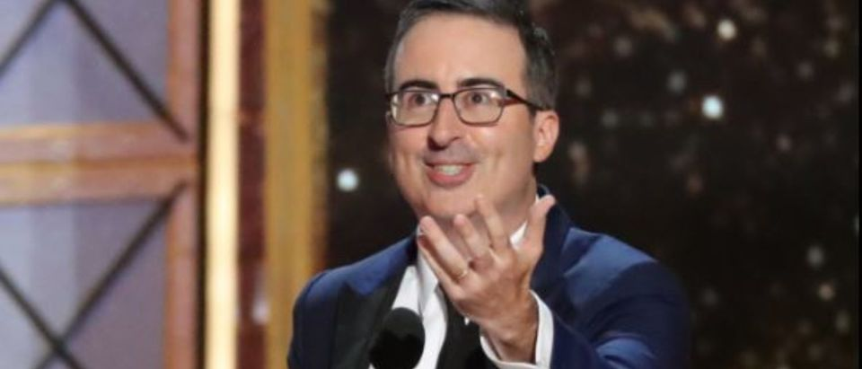 """69th Primetime Emmy Awards – Show – Los Angeles, California, U.S., 17/09/2017 - John Oliver accepts the award for Outstanding Variety Talk Series for """"Last Week Tonight with John Oliver."""" REUTERS/Mario Anzuoni"""
