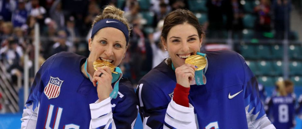 GANGNEUNG, SOUTH KOREA - FEBRUARY 22: Gold medal winners Meghan Duggan #10 and Hilary Knight #21 of the United States celebrate after defeating Canada in a shootout in the Women's Gold Medal Game on day thirteen of the PyeongChang 2018 Winter Olympic Games at Gangneung Hockey Centre on February 22, 2018 in Gangneung, South Korea. (Photo by Bruce Bennett/Getty Images)
