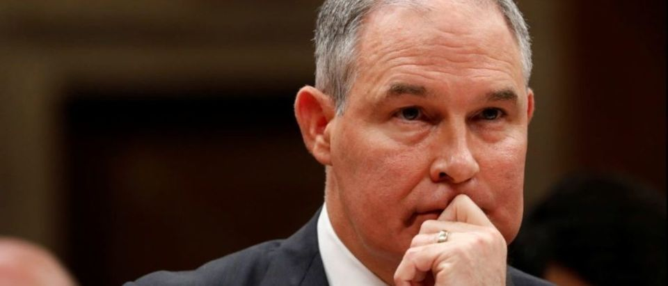 Environmental Protection Agency Administrator Scott Pruitt testifies before a Senate Appropriations Subcommittee on Capitol Hill in Washington, U.S., June 27, 2017. REUTERS/Aaron P. Bernstein | GOP Threw Fundraisers In Pruitt's Condo