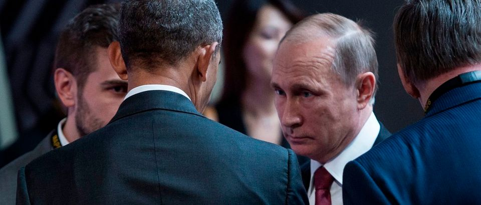 Barack Obama and Vladimir Putin on Nov. 20, 2016. Brendan Smialowski/AFP/Getty Images.