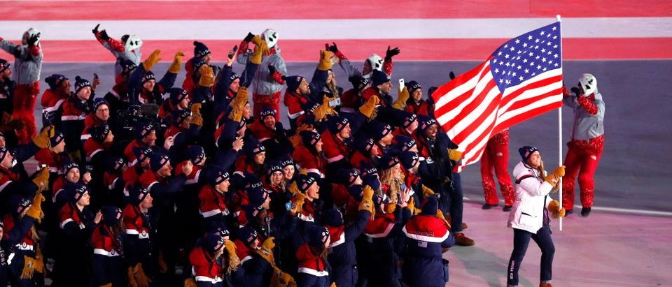 Pyeongchang 2018 Winter Olympics Opening Ceremony Pyeongchang Olympic Stadium- Pyeongchang, South Korea February 9, 2018 - Erin Hamlin of U.S. carries the national flag during the opening ceremony (REUTERS/Phil Noble).