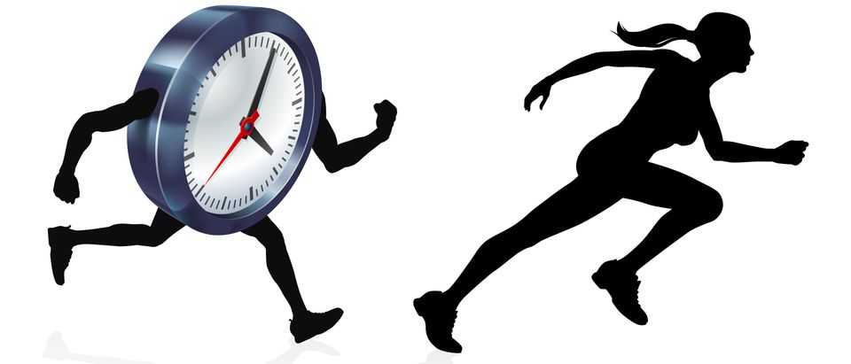 Graphic image of a person racing against time. (Shutterstock)