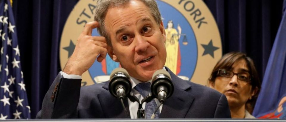 New York Attorney General Eric Schneiderman speaks during a news conference to discuss the civil rights lawsuit filed against The Weinstein Companies and Harvey Weinstein in New York, U.S., February 12, 2018. REUTERS/Brendan McDermid