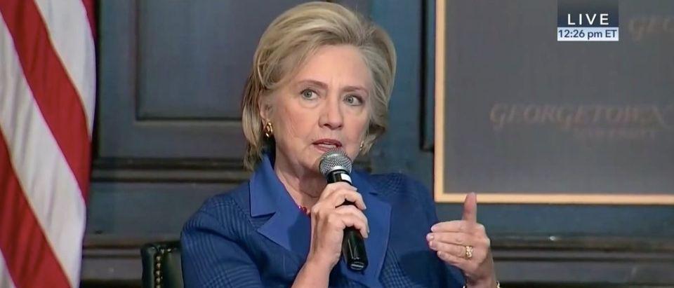 Screen Shot Hillary Clinton at Georgetown University (CSPAN 2: Feb 5, 2018)
