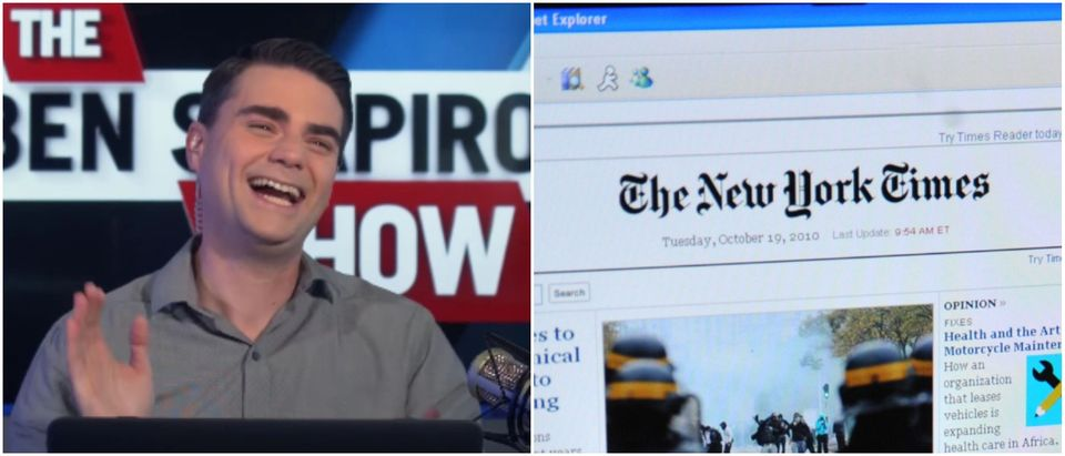 Shapiro New York Times feat image Left: The Daily Wire Youtube screenshot Right: AREN BLEIER/AFP/Getty Images