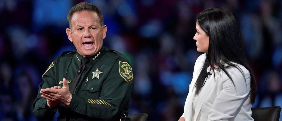 Broward Sheriff Scott Israel makes a point to NRA Spokesperson Dana Loesch during a CNN town hall meeting, at the BB&T Center, in Sunrise