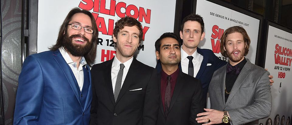 HOLLYWOOD, CA - APRIL 02: Actors Martin Starr, Thomas Middleditch, Kumail Nanjiani, Zach Woods and T.J. Miller attend the premiere of HBO's 'Silicon Valley' 2nd Season at the El Capitan Theatre on April 2, 2015 in Hollywood, California. (Photo by Alberto E. Rodriguez/Getty Images)