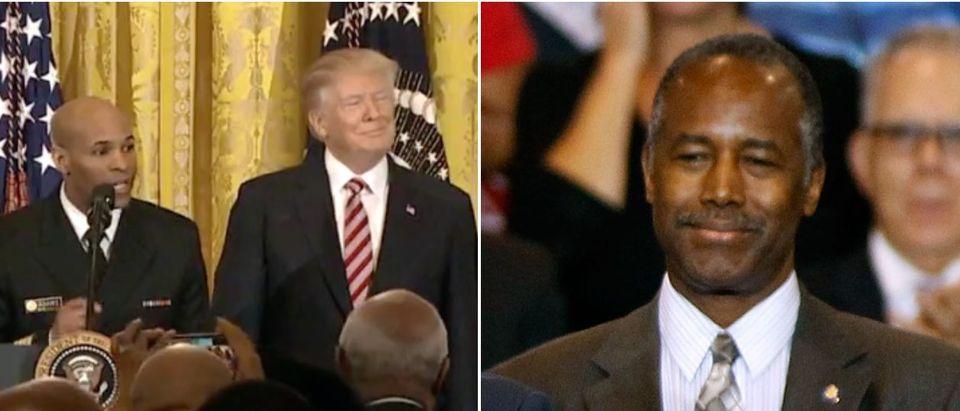 Trump Carson screenshot Left: Fox News screenshot Right: Photo by Ralph Freso/Getty Images