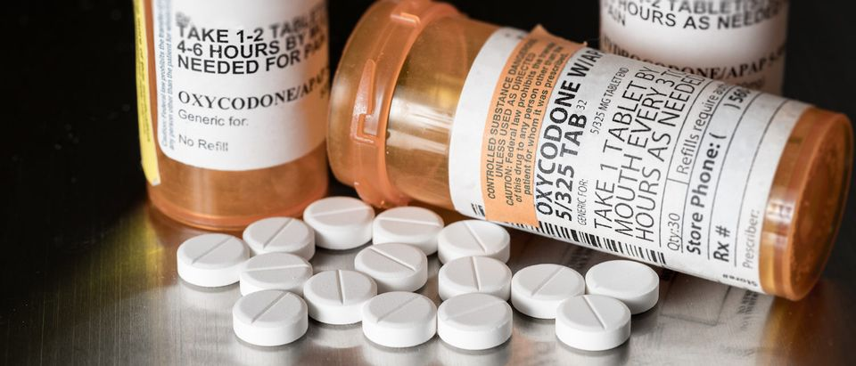 Oxycodone is the generic name for a range of opoid pain killing tablets. Prescription bottle for Oxycodone tablets and pills on metal table for opioid epidemic illustration. (Shutterstock/Steve Heap)