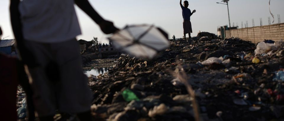 Children play with kites in Port-au-Prince