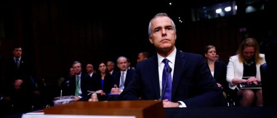 Acting FBI Director Andrew McCabe waits to testify before the U.S. Senate Select Committee on Intelligence on Capitol Hill in Washington