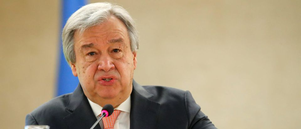 U.N. Secretary-General Antonio Guterres addresses the Human Rights Council at the United Nations in Geneva, Switzerland February 26, 2018. REUTERS/Denis Balibouse