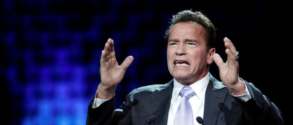 R20 Founder and former California state governor Arnold Schwarzenegger delivers a speech during the One Planet Summit at the Seine Musicale center in Boulogne-Billancourt, near Paris, France, December 12, 2017. REUTERS/Benoit Tessier | Schwarzenegger Commuted On Private Jet