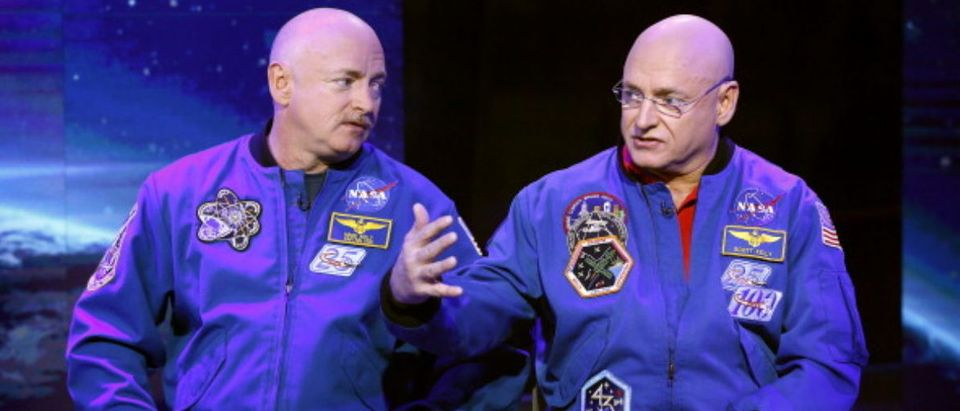 "TODAY -- Pictured: (l-r) Mark Kelly and Scott Kelly appear on NBC News' ""Today"" show -- (Photo by: Peter Kramer/NBC/NBC NewsWire via Getty Images)"