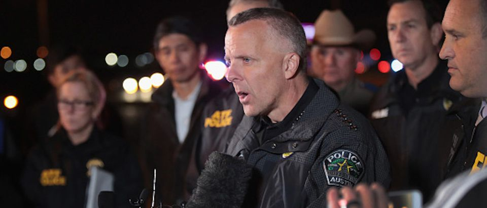 ROUND ROCK, TX - MARCH 21: Austin Police Chief Brian Manley speaks to the media near the location where the suspected package bomber was killed in suburban Austin on March 21, 2018 in Round Rock, Texas. The 24-year-old suspect blew himself up inside his car as police approached the vehicle. A massive search had been underway by local and federal law enforcement officials in Austin and the surrounding area after several package bombs had detonated in recent weeks, killing two people and injuring several others. (Photo by Scott Olson/Getty Images)