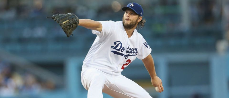 LOS ANGELES, CA - JUNE 24: Clayton Kershaw #22 of the Los Angeles Dodgers folows throws a pitch in the second inning against the Colorado Rockies at Dodger Stadium on June 24, 2017 in Los Angeles, California. (Photo by Stephen Dunn/Getty Images)
