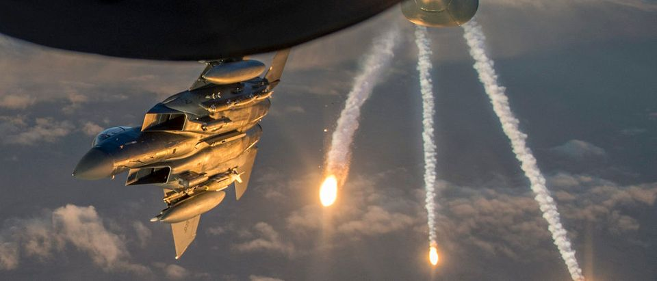 KC-135 refuels F-15s
