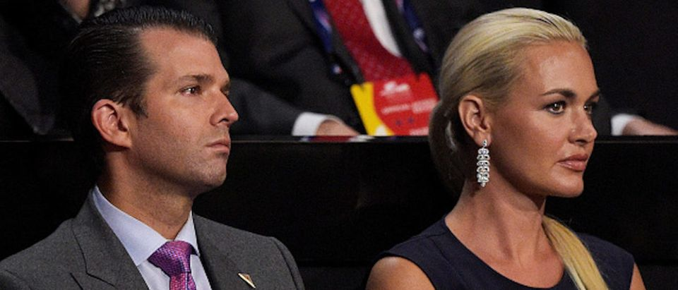 CLEVELAND, OH - JULY 21: Donald Trump Jr. along with his wife Vanessa Trump, attend the evening session on the fourth day of the Republican National Convention on July 21, 2016 at the Quicken Loans Arena in Cleveland, Ohio. Republican presidential candidate Donald Trump received the number of votes needed to secure the party's nomination. An estimated 50,000 people are expected in Cleveland, including hundreds of protesters and members of the media. The four-day Republican National Convention kicked off on July 18. (Photo by Jeff Swensen/Getty Images)