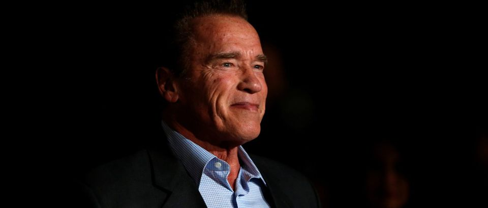 """Actor Schwarzenegger poses at a premiere for """"The 15:17 to Paris"""" in Burbank"""