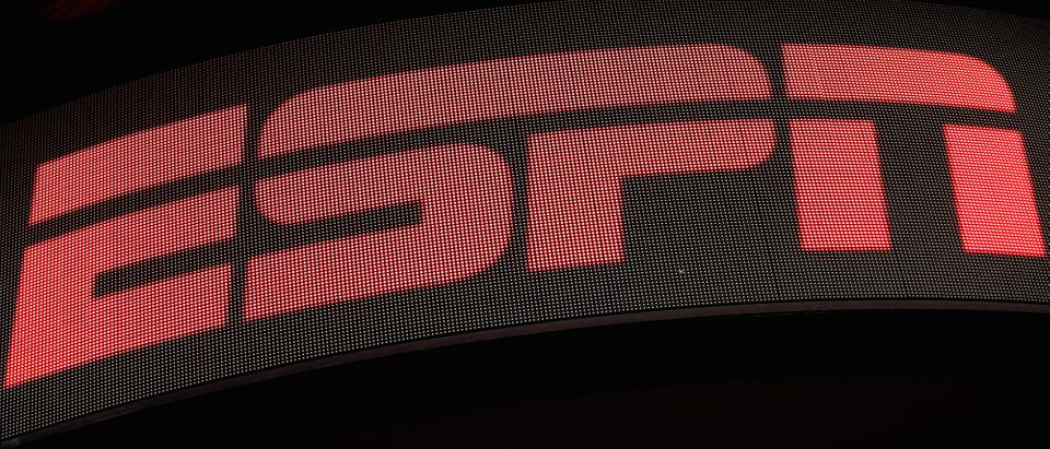 The ESPN logo is seen on an electronic display in Times Square in New York City