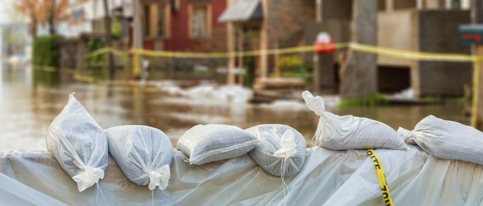 Close shot of flood protection sandbags with flooded homes in the background. (Shutterstock)