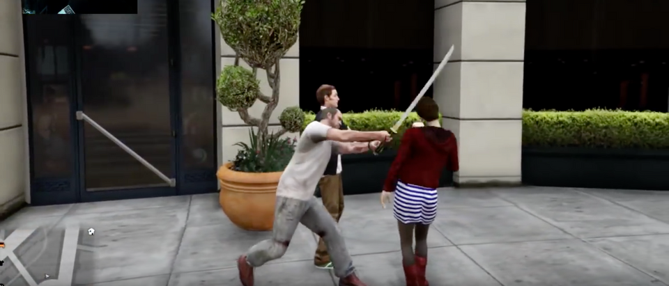 A Grand Theft Auto 5 character swings his samurai sword at an NPC. (Screenshot/YouTube/Grand Theft Auto 5) | Woman Stabs Man Over Video Games
