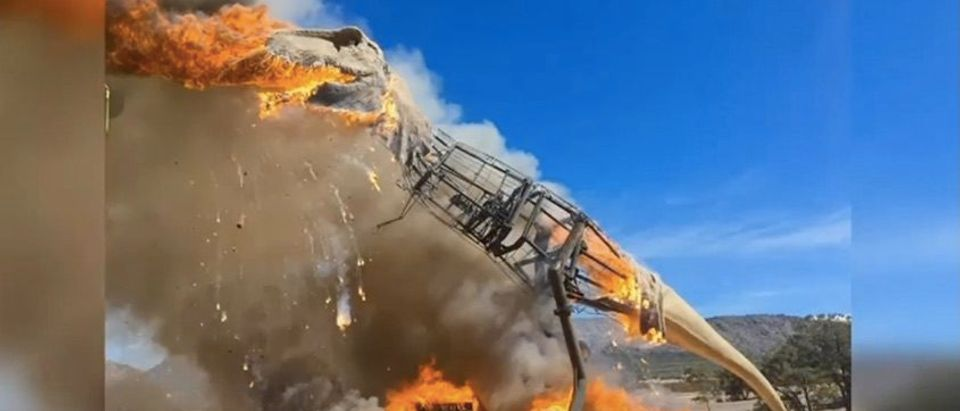 Giant T-rex goes up in flames (Photo: YouTube Screenshot)