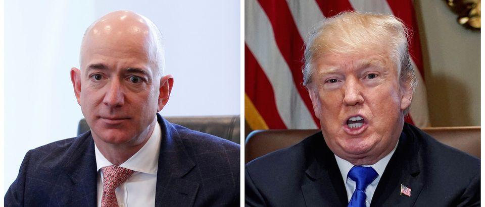 A combination photo shows Amazon CEO Jeff Bezos (L) in New York and U.S. President Donald Trump at the White House in Washington, D.C., U.S. on Dec. 14, 2016 and on Dec. 20, 2017 respectively. REUTERS/Shannon Stapleton (L) Jonathan Ernst (R)