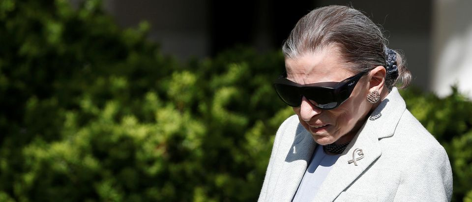 Associate Supreme Court Justice Ruth Bader Ginsburg arrives for the swearing in ceremony of Judge Neil Gorsuch in the Rose Garden of the White House in Washington, U.S., April 10, 2017. REUTERS/Joshua Roberts
