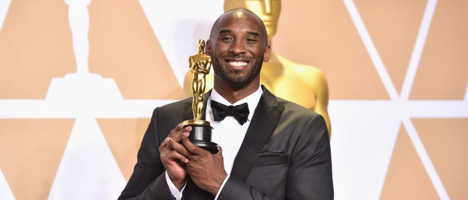 HOLLYWOOD, CA - MARCH 04: Filmmaker Kobe Bryant, winner of the Best Animated Short Film award for 'Dear Basketball,' poses in the press room during the 90th Annual Academy Awards at Hollywood & Highland Center on March 4, 2018 in Hollywood, California. (Photo by Alberto E. Rodriguez/Getty Images)