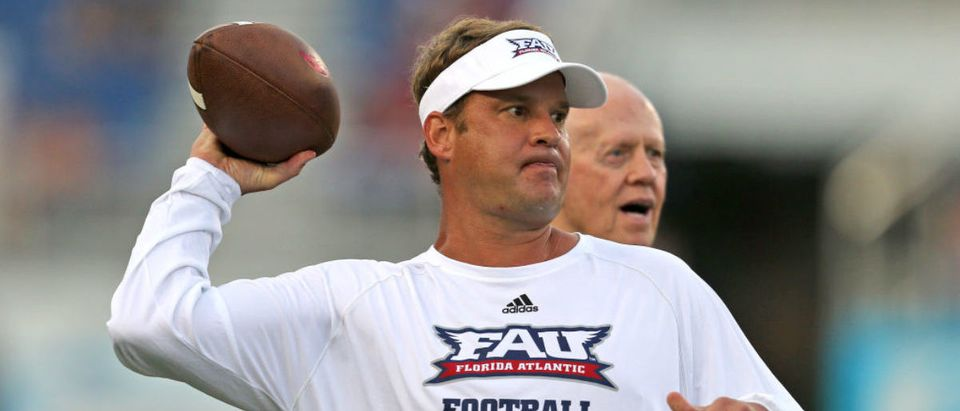 BOCA RATON, FL - SEPTEMBER 1: Head coach Lane Kiffin of the Florida Atlantic Owls throws the ball prior to the game against the Navy Midshipmen on September 1, 2017 at FAU Stadium in Boca Raton, Florida. (Photo by Joel Auerbach/Getty Images)