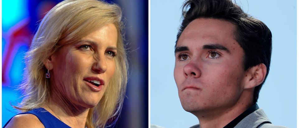 A combination of file photos show media personality Laura Ingraham in Washington October 14, 2017 and Marjory Stoneman Douglas High School student David Hogg, at a rally in Washington March 24, 2018. REUTERS/Mary F. Calvert, Jonathan Ernst/Files | Fox News Defends Laura Ingraham