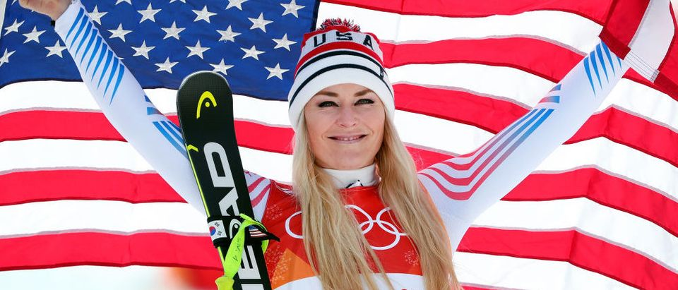 Bronze medallist Lindsey Vonn of the United States celebrates during the victory ceremony for the Ladies' Downhill on day 12 of the PyeongChang 2018 Winter Olympic Games at Jeongseon Alpine Centre on February 21, 2018 in Pyeongchang-gun, South Korea. (Photo by Tom Pennington/Getty Images)