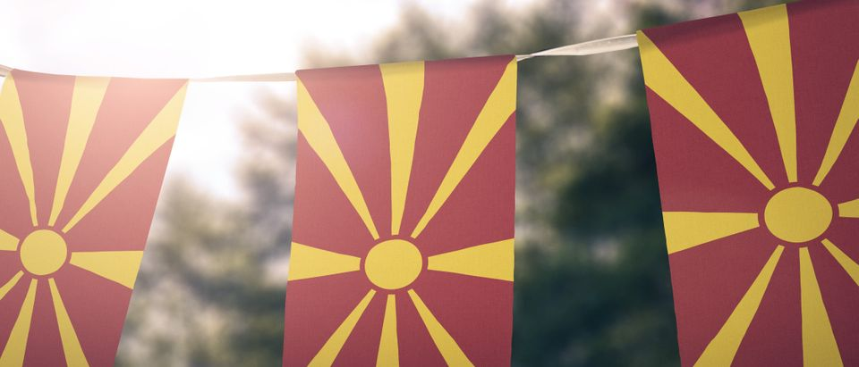 Macedonia flag pennants. (Shutterstock)