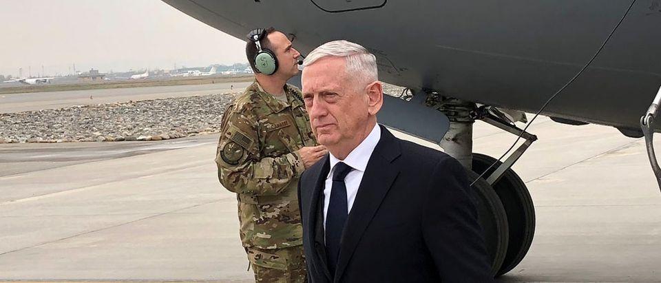 U.S. Defense Secretary Jim Mattis lands in Kabul