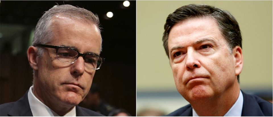 Andrew McCabe (Left, via Alex Wong/Getty Images) and James Comey (Right, via Gary Cameron/Reuters