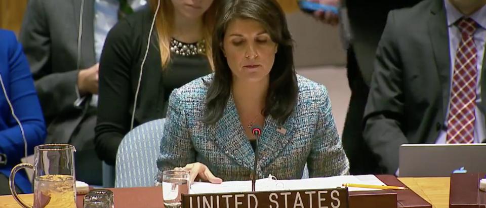 UN Ambassador Nikki Haley discusses Russian violation of ceasefire in Syria at UN Security Council. (Fox News Facebook Screenshot)