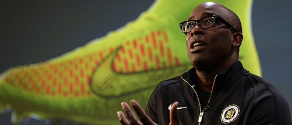 """President of the Nike Brand Trevor Edwards presents the company's new """"Magista"""" football boot in Barcelona on March 6, 2014. AFP PHOTO / LLUIS GENE / AFP PHOTO / Lluis GENE (Photo credit should read LLUIS GENE/AFP/Getty Images)"""