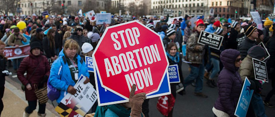 Pro-life demonstrators march towards the U.S. Supreme Court during the 44th annual March for Life in Washington, DC, on January 27, 2017. (Photo: ANDREW CABALLERO-REYNOLDS/AFP/Getty Images)