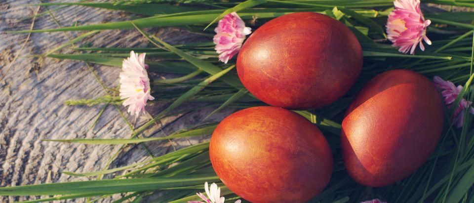 Red Easter Eggs, symbolizing the blood of Christ (Shutterstock/ savitskaya iryna)